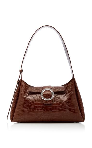 IMAGO-A Croc-Embossed Leather Shoulder Bag in brown