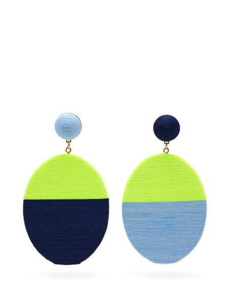 Maryjane Claverol - Sissi Mismatched Drop Clip Earrings - Womens - Blue