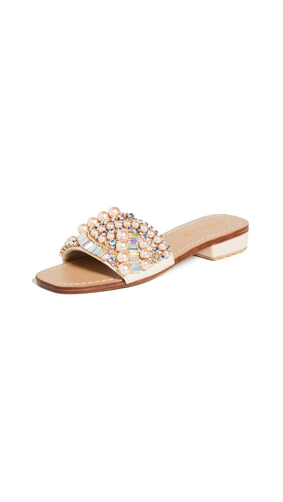 Mystique Crystal and Pearl Slides in pink