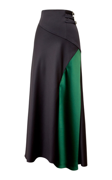 Alejandra Alonso Rojas Buckled Waistband Wool Flared Skirt Size: 8 in navy