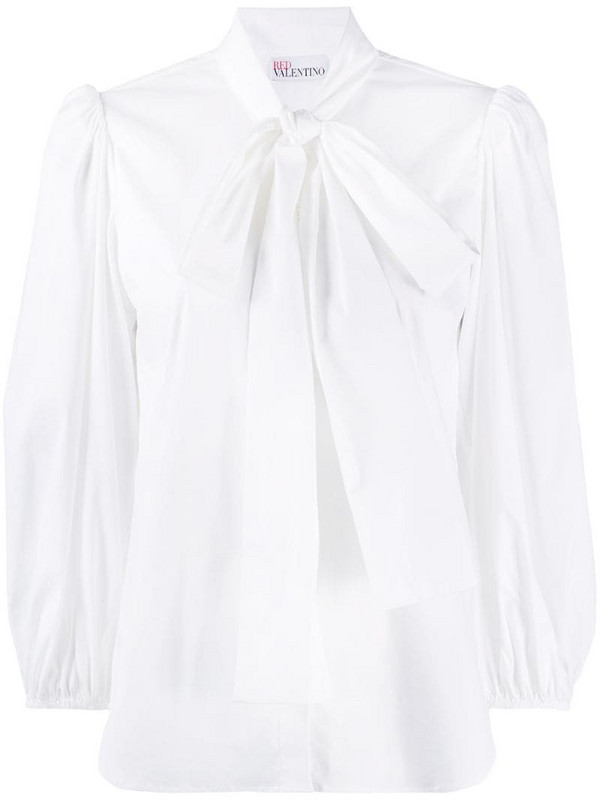 RED Valentino pussy-bow puff-sleeve blouse in white