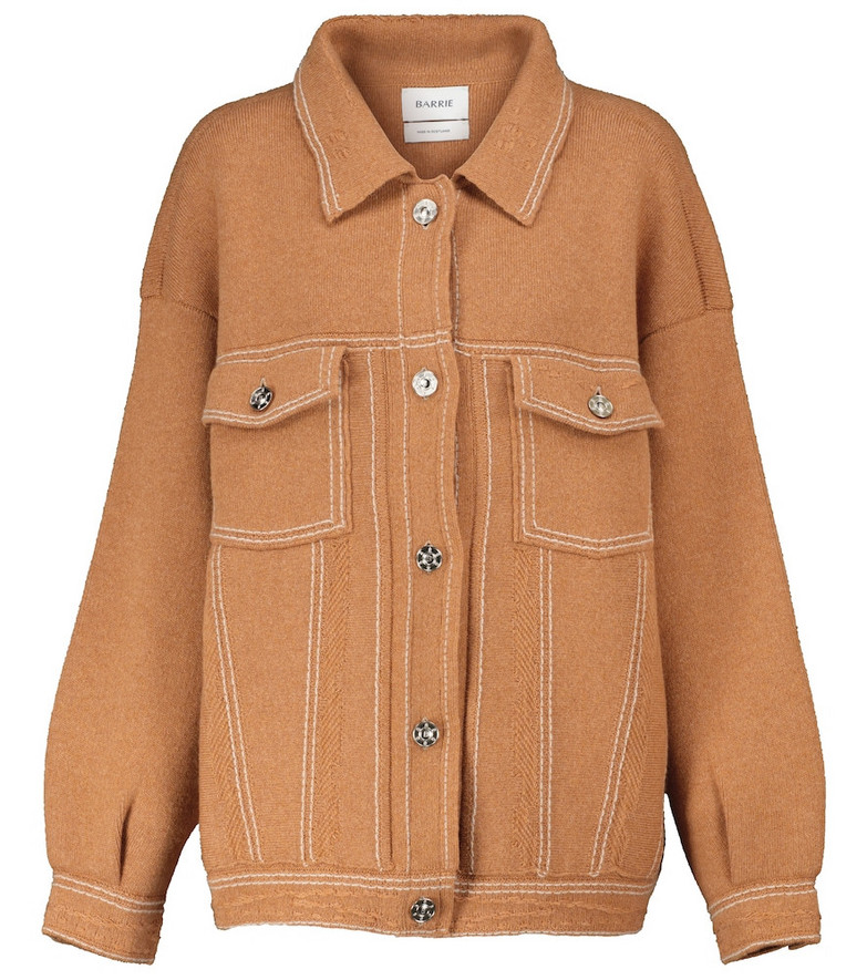 Barrie Cashmere and cotton knit jacket in brown