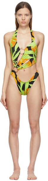 Louisa Ballou Black & Green Sex Wax One-Piece Swimsuit