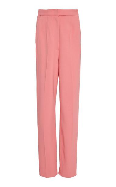 Saloni Maxima Straight-Leg Crepe Pants Size: 12 in pink