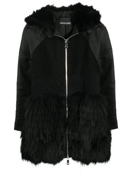 Ermanno Ermanno embroidered wool parka in black