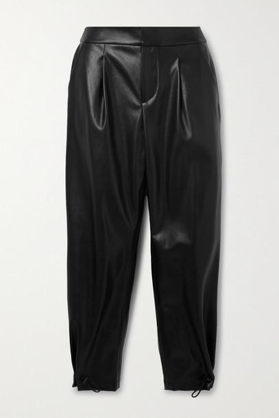 ALICE + OLIVIA ALICE + OLIVIA - Paris Pleated Vegan Leather Tapered Pants - Black