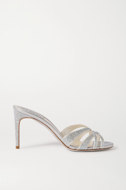René Caovilla - Crystal-embellished Satin And Leather Mules - Silver