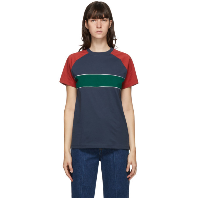 Wales Bonner Multicolor George T-Shirt in blue / green