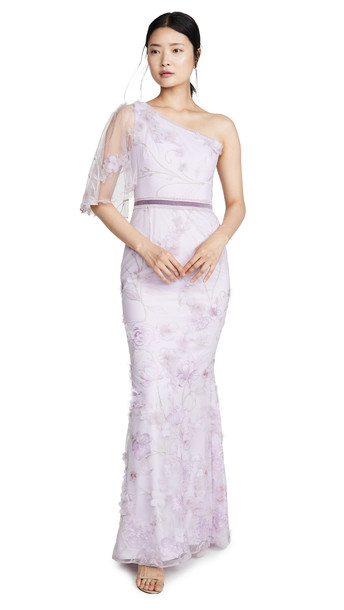 Marchesa Notte One Shoulder Embroidered Tulle Mermaid Gown in lilac