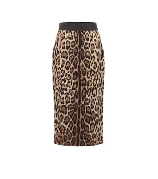 Dolce & Gabbana Leopard crêpe pencil skirt in brown