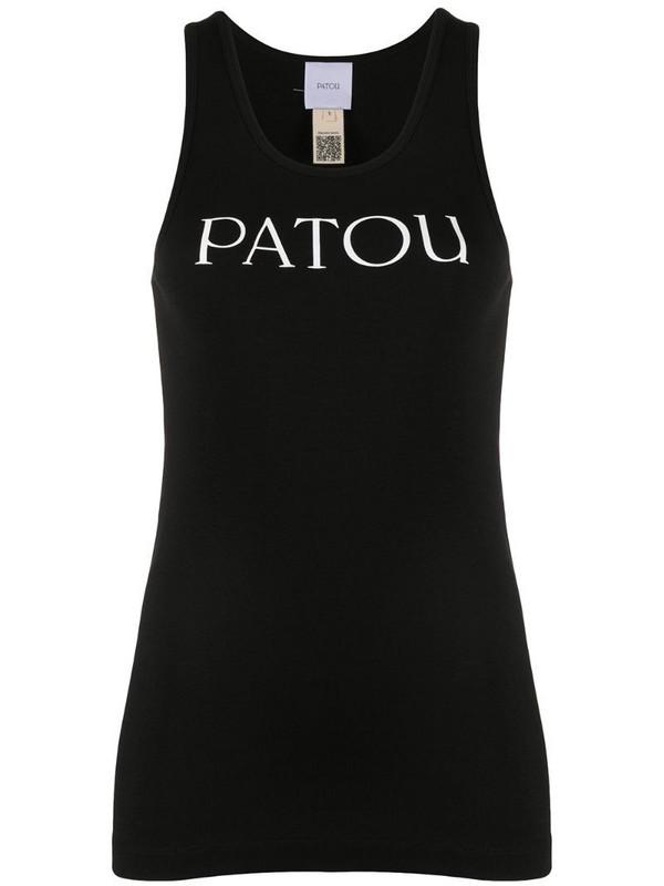 Patou scoop neck logo tank top in black