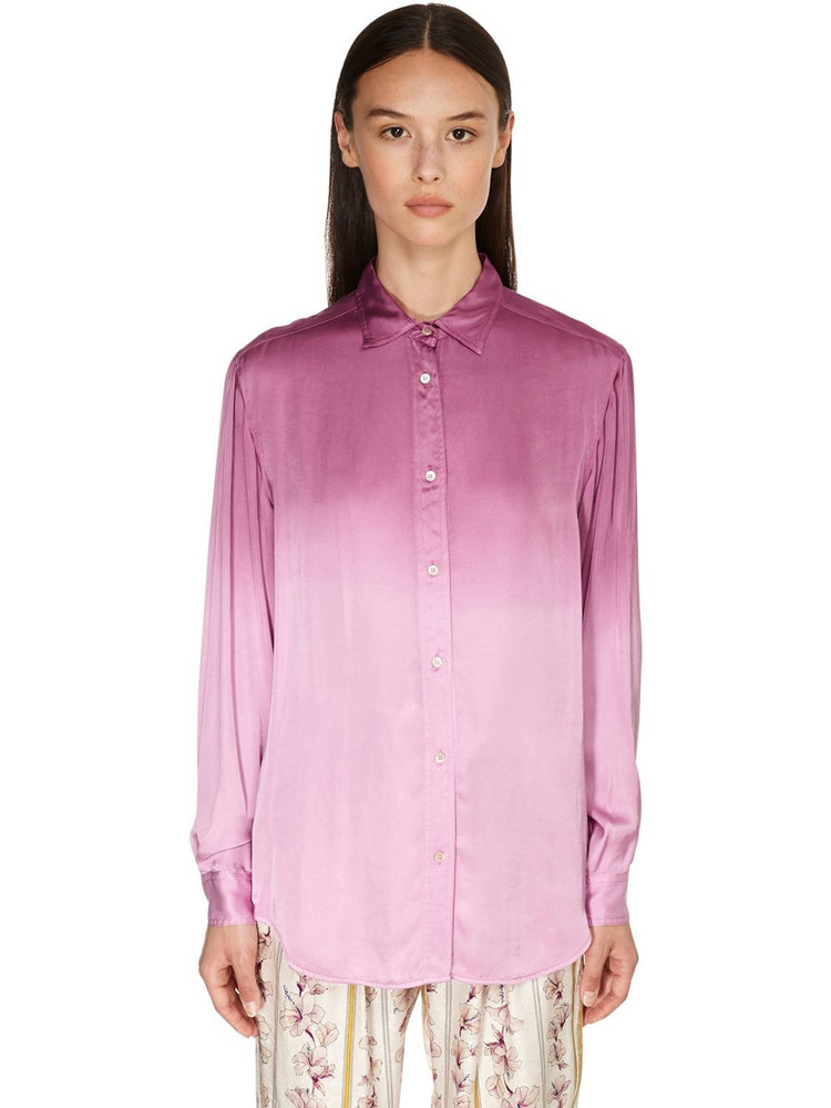 FORTE FORTE Degradé Print Satin Shirt in magenta