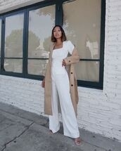 pants,wide-leg pants,high waisted pants,white pants,sandals,trench coat,white top,long sleeves