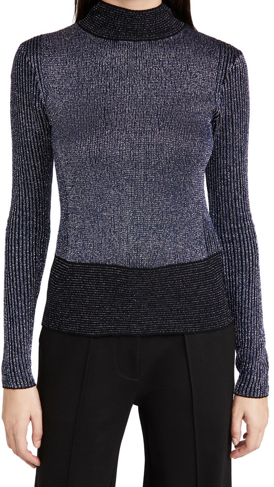 Victoria Victoria Beckham Fitted Ribbed Merino Metallic Sweater in black / navy