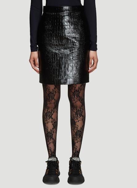 Gucci Crocodile Print Leather Pencil Skirt in Black size IT - 38