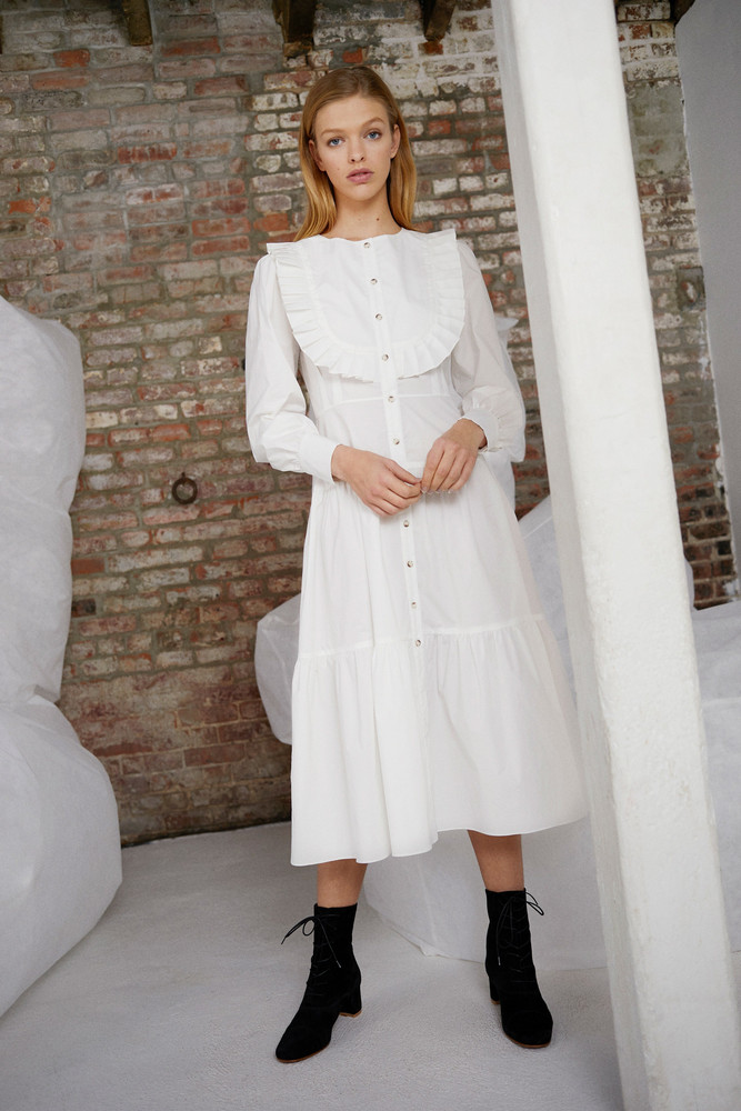WHIT BARRETT DRESS in WHITE POPLIN