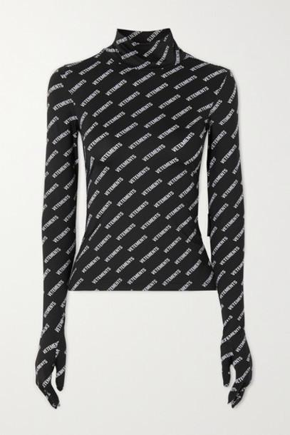 Vetements - Printed Stretch-jersey Turtleneck Top - Black