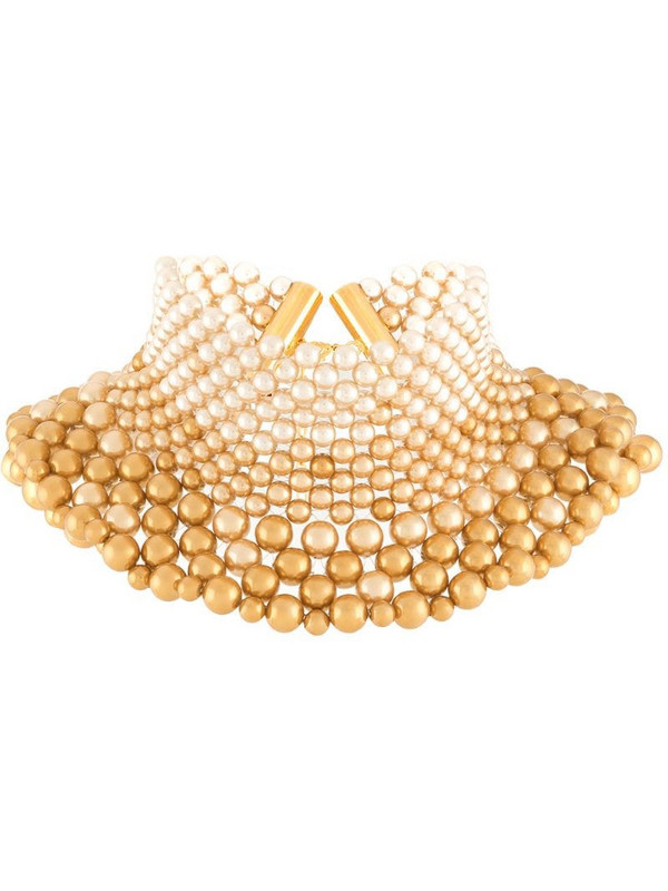 Sunnei gradient faux-pearl necklace in gold
