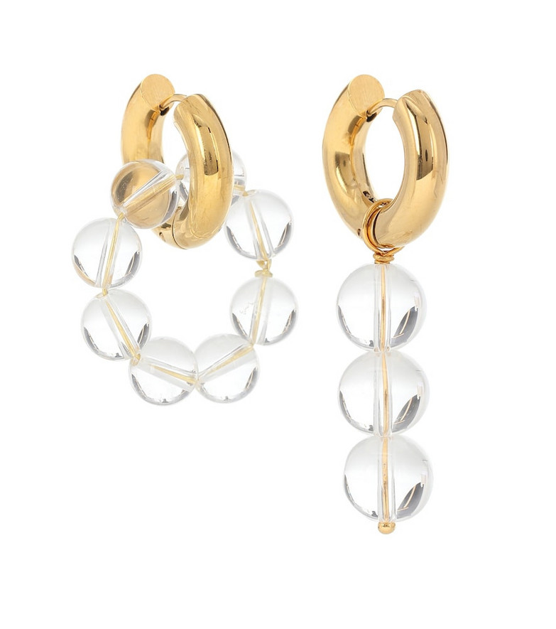 Timeless Pearly Mismatched 24kt gold-plated hoop earrings