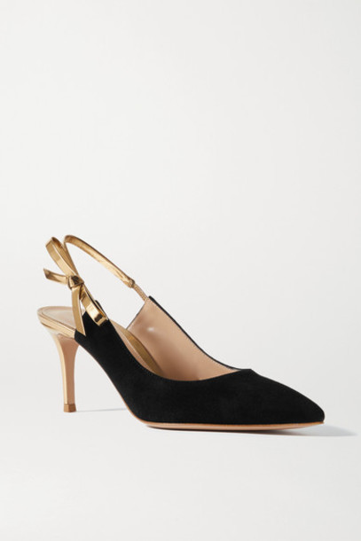 Gianvito Rossi - 70 Bow-embellished Metallic Leather And Suede Slingback Pumps - Black