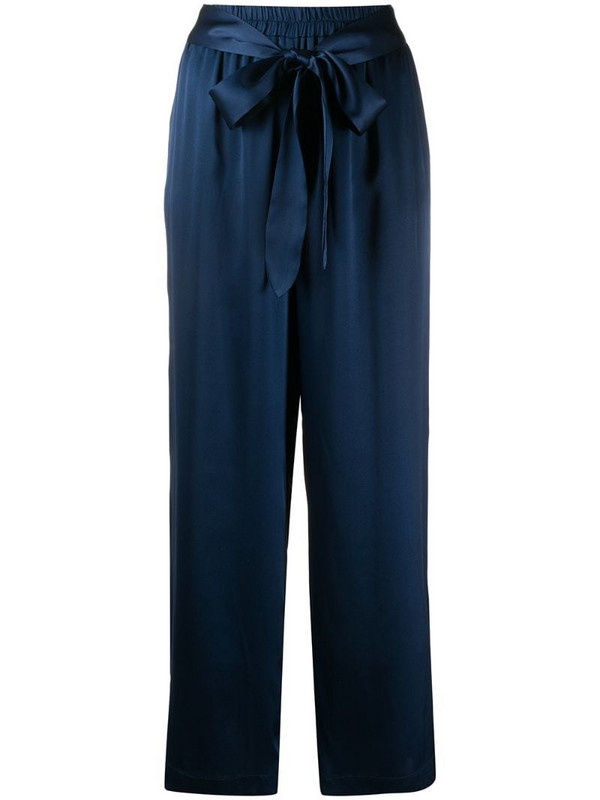 Gold Hawk belted satin trousers in blue