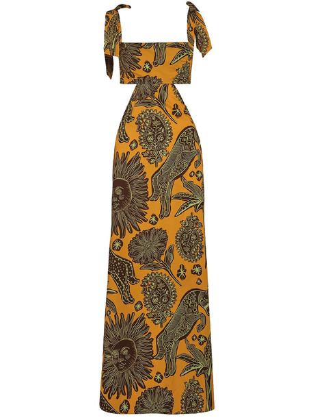 JOHANNA ORTIZ Organic Cotton Poplin Maxi Dress in orange / multi