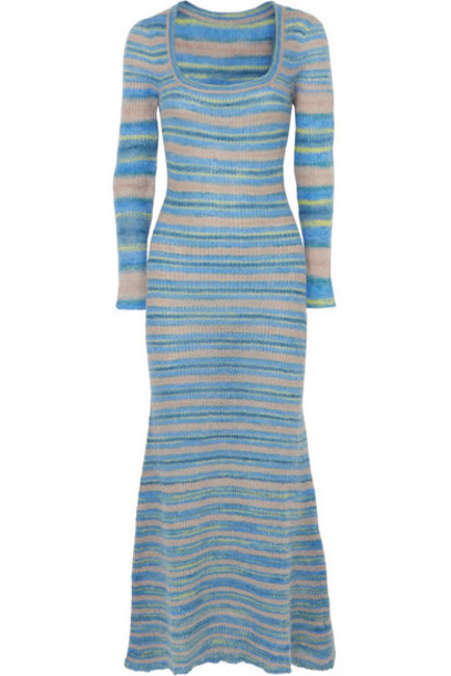 Jacquemus - Perou Striped Knitted Maxi Dress - Blue