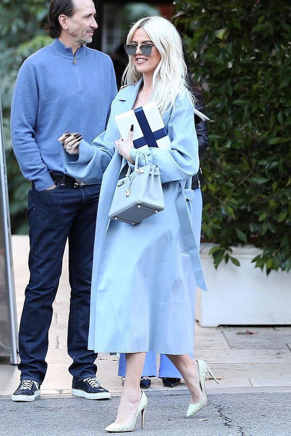 coat khloe kardashian kardashians pumps blue celebrity