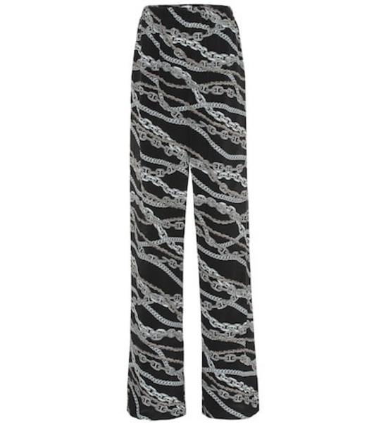 Balenciaga Printed wide-leg silk pants in black