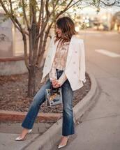 coat,white blazer,blazer,top,denim,jeans,blue jeans,shoes