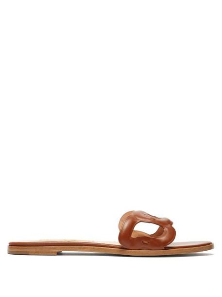 Rupert Sanderson - Annabel Leather Slides - Womens - Tan