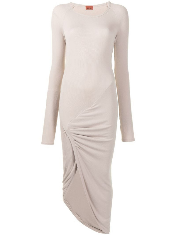 ALIX NYC long-sleeved ruched midi dress in brown