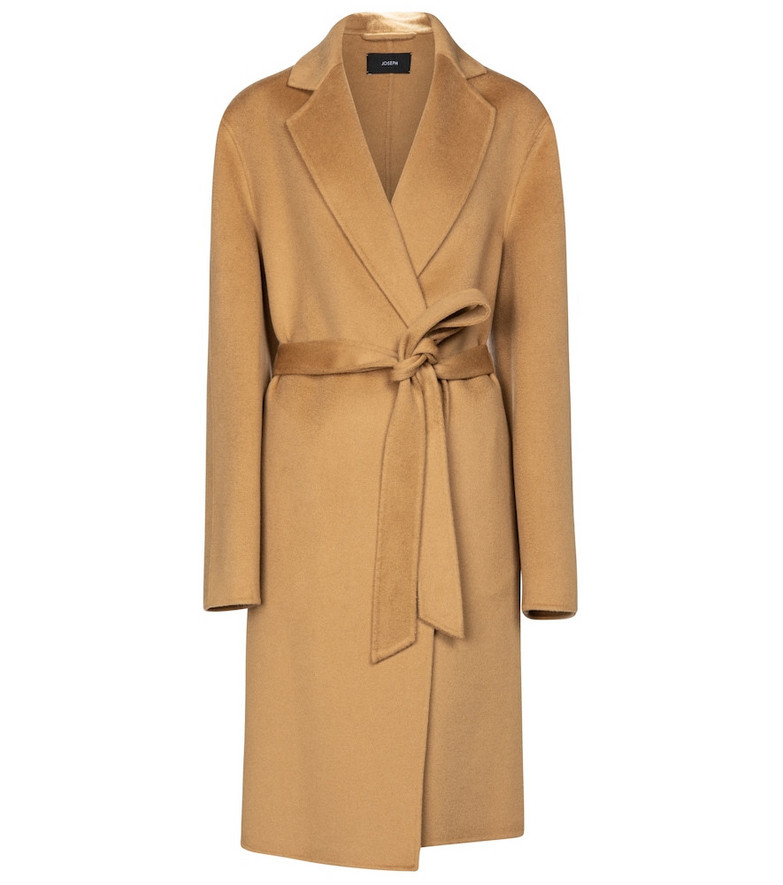 Joseph Cenda wool and cashmere belted coat in brown