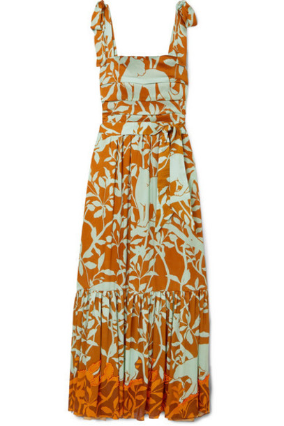 Johanna Ortiz - My Kind Of Rainforest Embellished Printed Crepon Maxi Dress - Brown
