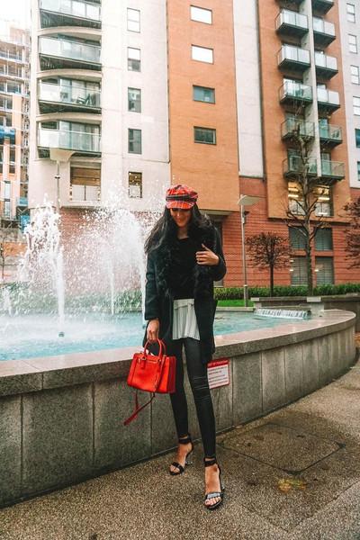 leona meliskova blogger coat top leggings hat shoes bag sandals fisherman cap red bag