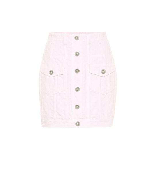Balmain Denim miniskirt in pink