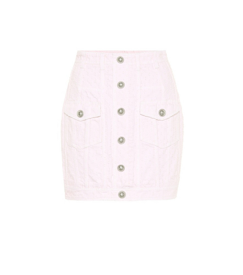 Balmain Denim miniskirt in pink
