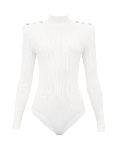 Balmain - Crest Button Ribbed Knit Bodysuit - Womens - White