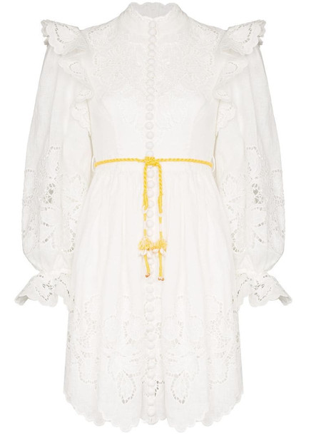 Zimmermann Carnaby high neck ruffled dress in white