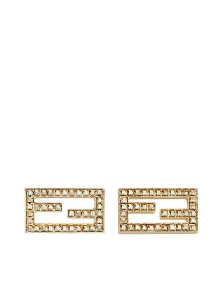 Fendi baguette stud earrings in gold