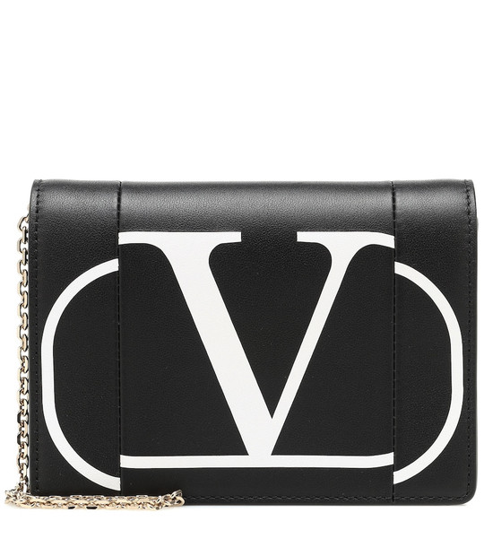 Valentino Garavani VLOGO leather clutch in black