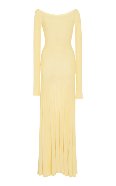 Jacquemus Off-The-Shoulder Jersey Maxi Dress Size: 34 in yellow
