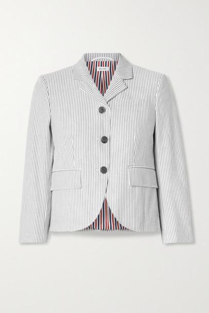 Thom Browne - Striped Cotton-seersucker Blazer - Taupe