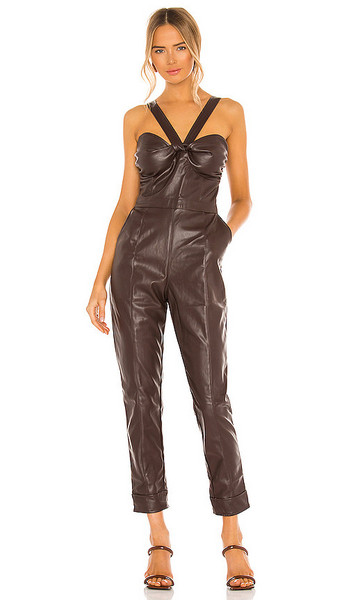 KENDALL + KYLIE KENDALL + KYLIE Vegan Leather Bustier Jumpsuit in Chocolate