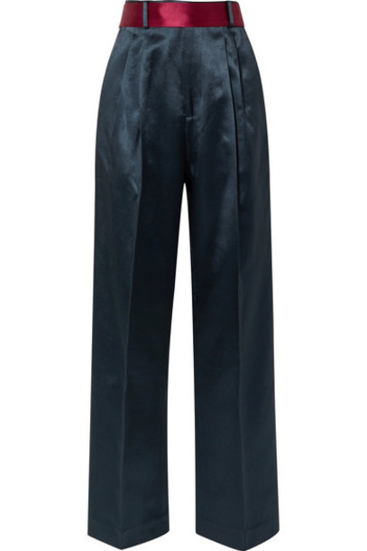 Peter Do - Belted Hammered-satin Straight-leg Pants - Storm blue