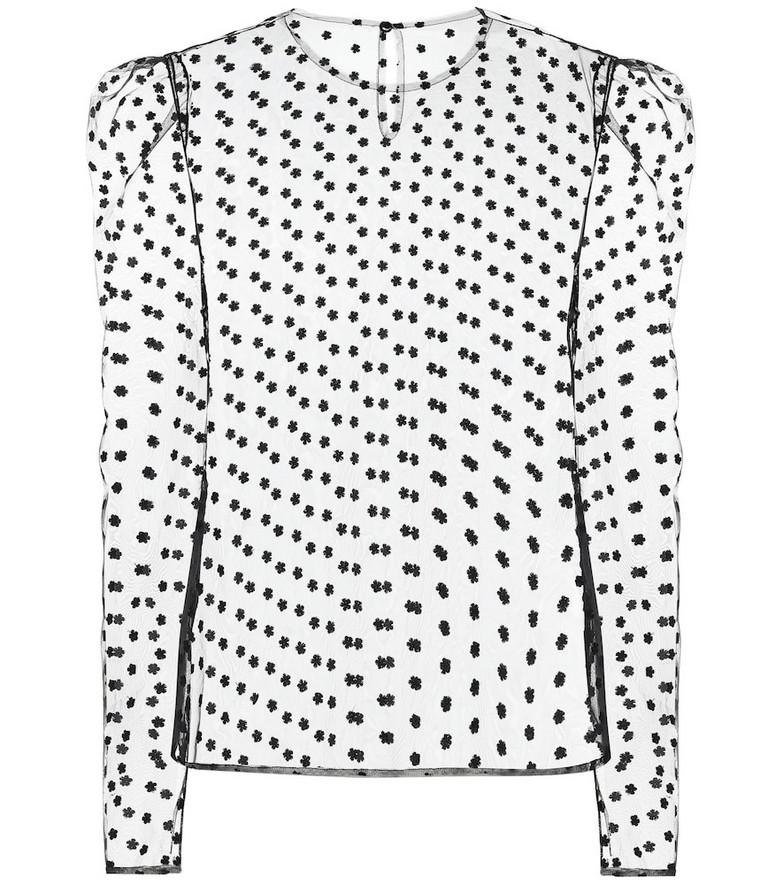 Philosophy Di Lorenzo Serafini Daisy embroidered tulle top in black