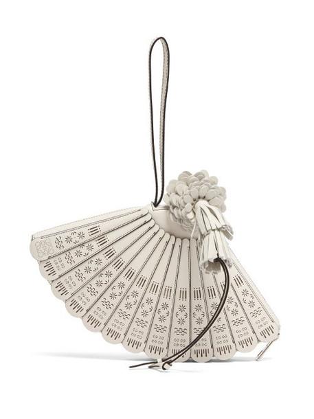 Loewe Paula's Ibiza - Fan Leather Wristlet Bag - Womens - White
