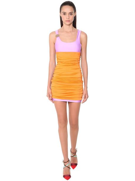 FAUSTO PUGLISI Multicolor Stretch Lycra Mini Dress in orange / pink