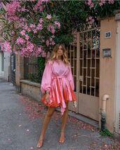 shoes,sandal heels,mini dress,pink dress,puffed sleeves