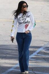 jeans,denim,kourtney kardashian,kardashians,fall outfits,sweatshirt